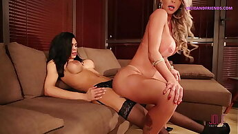 TWO HOT LATINA TGIRLS HAVING SEX ON THE SOFA IN FRONT OF CUCKOLD