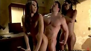 Two Black Ts ladies surprise tagteam fuck a muscly guy in his B & B room
