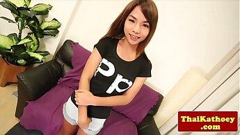 Thai petite tranny teen strokes her dick