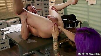 Tranny secretary anal fucks bent over man